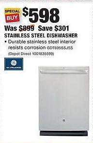 Home Depot Black Friday: GE Appliances Stainless Steel Dishwasher (GDT695SSJSS) for $598.00