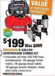 Home Depot Black Friday: Porter + Cable 6-Gallon Compressor Combo Kit for $199.00
