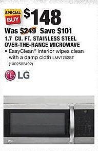 Home Depot Black Friday: LG 1.7 Cu. Ft. Stainless Steel Over-the-Range Microwave (LMV1762ST) for $148.00