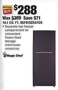 Home Depot Black Friday: Magic Chef 10.1 Cu. Ft. Refrigerator (HMDR1000BE) for $288.00