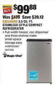 Home Depot Black Friday: Magic Chef 3.5 Cu. Ft. Stainless-Style Compact Refrigerator for $99.88