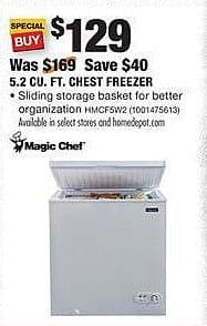 Home Depot Black Friday: Magic Chef 5.2 Cu. Ft. Chest Freezer (HMCF5W2) for $129.00