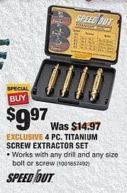 Home Depot Black Friday: Speed Out 4 pc. Titanium Screw Extractor Set for $9.97