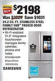 Home Depot Black Friday: Samsung 24.2 Cu. Ft. Stainless Steel Family Hub French Door Refrigerator (RF265BEAESR) for $2,198.00