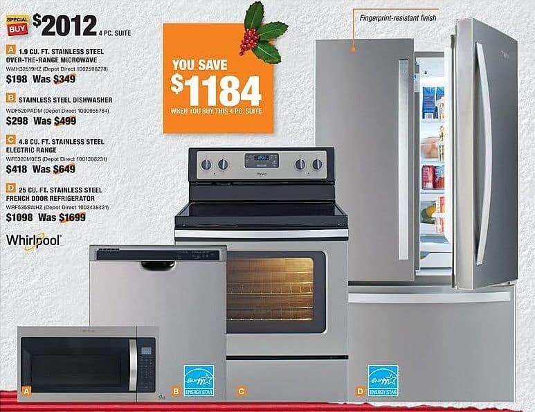 Home Depot Black Friday: Whirlpool 25 Cu. Ft. Stainless Steel French Door Refrigerator (WRF535SWHZ) for $1,098.00