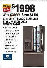 Home Depot Black Friday: GE 27.8 CU. Ft. Black Stainless Steel French Door Refrigerator (GFD28GBLTS) for $1,998.00