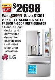 Home Depot Black Friday: LG 29.7 Cu. Ft. Stainless Steel French 4-Door Refrigerator for $2,698.00