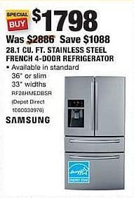 Home Depot Black Friday: Samsung 28.1 Cu. Ft. Stainless Steel French 4-Door Refrigerator (RF28HMEDBSR) for $1,798.00