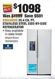 Home Depot Black Friday: GE Adora 25.4 Cu. Ft. Stainless Steel Side-by-Side Refrigerator for $1,098.00