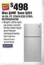 Home Depot Black Friday: Maytag 18 Cu. Ft. Stainless Steel Refrigerator (MRT118FFFM) for $498.00