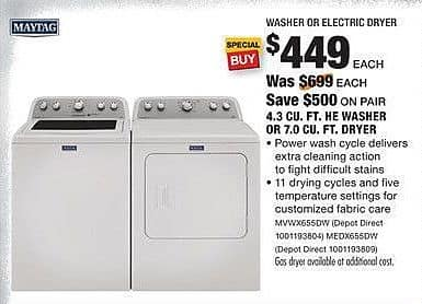 Home Depot Black Friday: Maytag 4.3 Cu. Ft. HE Washer (MVWX655DW) for $449.00