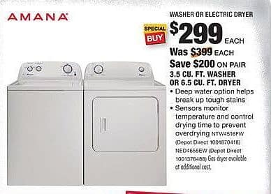 Home Depot Black Friday: Amana 6.5 Cu. Ft. Electric Dryer (NED4655EW) for $299.00