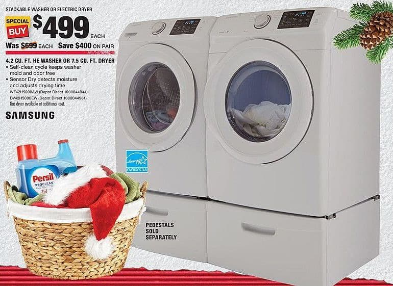 Home Depot Black Friday: Samsung 4.2 Cu. Ft. HE Washer (WF42H5000AW) for $499.00