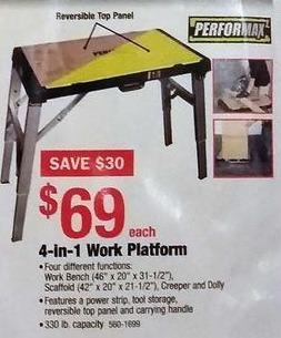 Menards Black Friday: Performax 4-in-1 Work Platform for $69.00