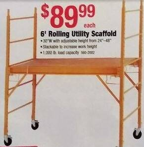 Menards Black Friday: 6' Rolling Utility Scaffold for $89.99
