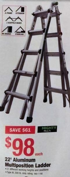 Menards Black Friday: Mighty Multi 22' Aluminum Multiposition Ladder for $98.00