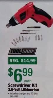 Menards Black Friday: Tool Shop Screwdriver Kit 3.6-Volt Lithium-ion for $6.99