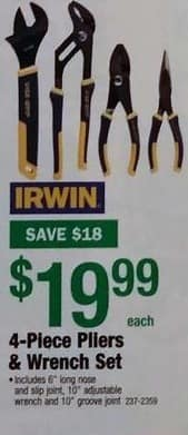 Menards Black Friday: Irwin 4-Piece Pilers & Wrench Set for $19.99