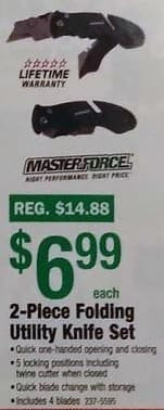 Menards Black Friday: Masterforce 2-Piece Folding Utility Knife Set for $6.99