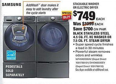 Home Depot Black Friday: Samsung 4.5 Cu. Ft. WF45K6500AV Black Stainless Steel HE Washer for $749.00