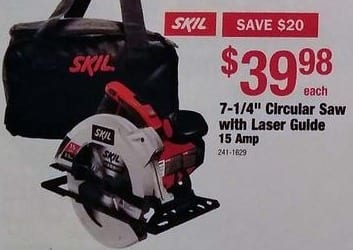 "Menards Black Friday: SKIL 7-1/4"" Circular Saw with Laser Guide 15 Amp for $39.98"