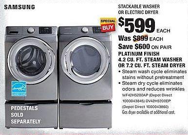 Home Depot Black Friday: Samsung 4.2 Cu. Ft. WF42H5200AP Steam Washer for $599.00