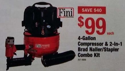 Menards Black Friday: Fini 4-Gallon Compressor & 2-in-1 Brad Nailer/Stapler Combo Kit for $99.00