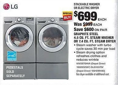 Home Depot Black Friday: LG 7.4 Cu. Ft. DLEX3370V Steam Dryer for $6.99