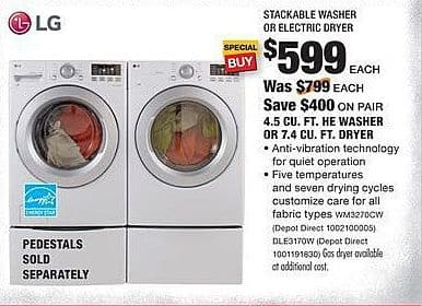 Home Depot Black Friday: LG 4.5 Cu. Ft. WM3270CW HE Washer for $599.00