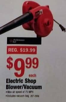 Menards Black Friday: Performance Tool Electric Shop Blower/Vacuum for $9.99
