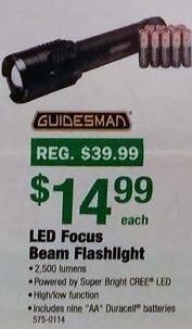 Menards Black Friday: Guidesman LED Focus Beam Flashlight for $14.99