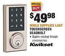 Home Depot Black Friday: Kwikset Touchscreen Deadbolt for $49.88
