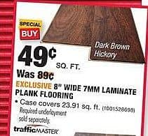 "Home Depot Black Friday: 1 Sq. Ft. of TrafficMASTER 8"" Wide 7mm Laminate Plank Flooring for $0.49"