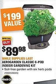 Home Depot Black Friday: Miracle-Gro Aerogarden Classic 6-Pod Indoor Gardening Kit for $89.99