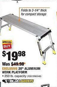 """Home Depot Black Friday: Gorilla Ladders 20"""" Aluminum Work Platform for $19.98"""