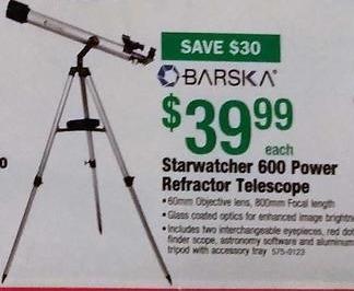 Menards Black Friday: Barska Starwatcher 600 Power Refractor Telescope for $39.99