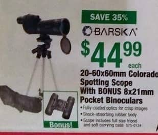 Menards Black Friday: Barska 20-60x60mm Colorado Spotting Scope with BONUS 8x21mm Pocket Binoculars for $44.99