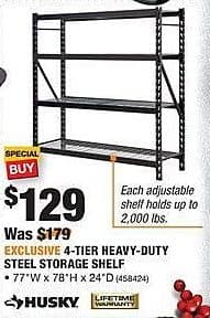 Home Depot Black Friday: Husky 4-Tier Heavy-Duty Steel Storage Shelf for $129.00