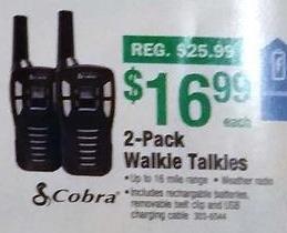 Menards Black Friday: Cobra 2-Pack Walkie Talkies for $16.99