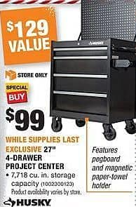 "Home Depot Black Friday: Husky 27"" 4-Drawer Project Center for $99.00"