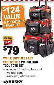 Home Depot Black Friday: Husky 3 Pc. Rolling Tool Tote Set for $79.00