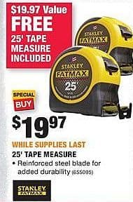Home Depot Black Friday: (2) Stanley Fatmax 25' Tape Measure for $19.97