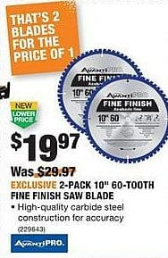 "Home Depot Black Friday: AvantiPro 2-Pack 10"" 60-Tooth Fine Finish Saw Blade for $19.97"
