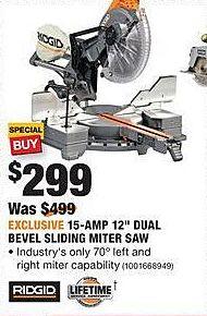"Home Depot Black Friday: Ridgid 15-Amp 12"" Dual Bevel Sliding Miter Saw for $299.00"