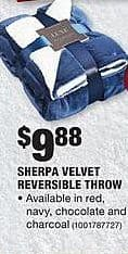 Home Depot Black Friday: Sherpa Velvet Reversible Throw in Red, Navy, Chocolate, and Charcoal Colors for $9.88