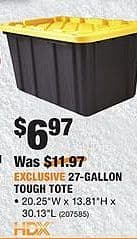 Home Depot Black Friday: HDX 27-Gallon Tough Tote for $6.97