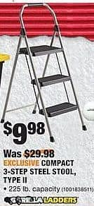 Home Depot Black Friday: Gorilla Ladders Compact 3-Step Steel Stool, Type II for $9.98