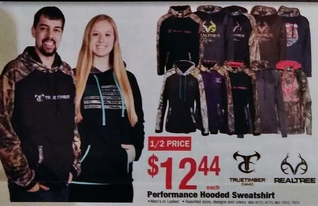 Menards Black Friday: Realtree Truetimber Camo Men's and Women's Assorted Performance Hooded Sweatshirt for $12.44