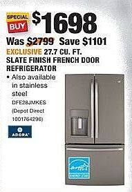 Home Depot Black Friday: Adora 27.7 CU.FT. Slate Finish French Door Refrigerator (DFE28JMKES) for $1,698.00