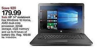 """Target Weekly Ad: HP Windows 10 Cloudbook 14-BW012NR 14"""" Laptop for $179.99"""